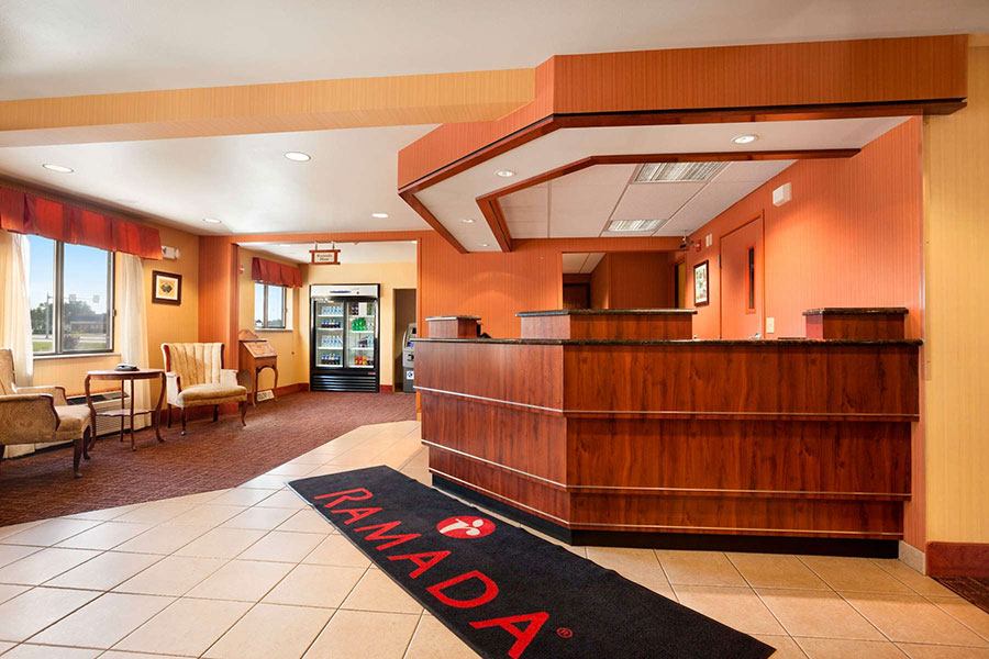 front desk and lobby of Ramada by Wyndham Wisconsin Dells